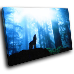 A041 Framed Canvas Print Colourful Modern Animal Wall Art -  Blue Black Forest Wolf Cool Wild - WhatsOnYourWall