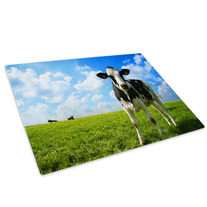 Black White Farm Cow Green Glass Chopping Board Kitchen Worktop Saver Protector - A042-Animal Chopping Board-WhatsOnYourWall
