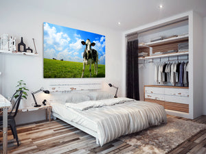 A042 Framed Canvas Print Colourful Modern Animal Wall Art - Black White Farm Cow Green-Canvas Print-WhatsOnYourWall