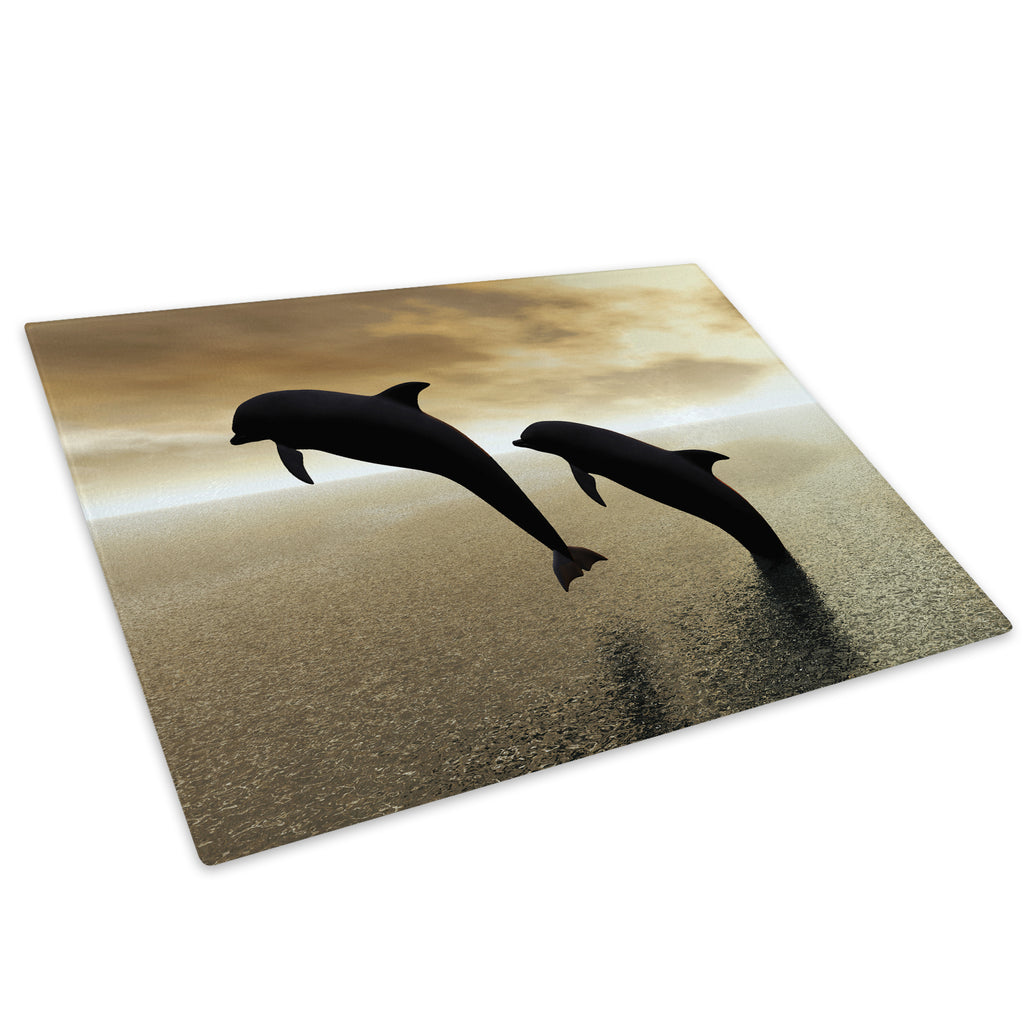 Black Dolphin Ocean Sunset Glass Chopping Board Kitchen Worktop Saver Protector - A043-Animal Chopping Board-WhatsOnYourWall