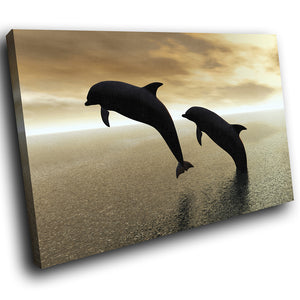 A043 Framed Canvas Print Colourful Modern Animal Wall Art - Black Brown Dolphin Ocean-Canvas Print-WhatsOnYourWall