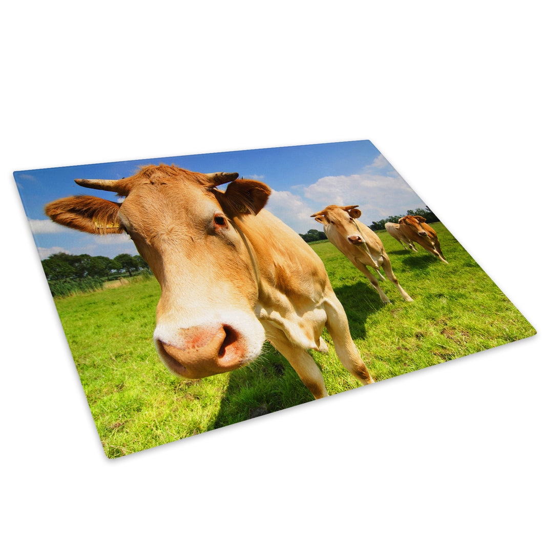 Brown Farm Cow Green Tree Glass Chopping Board Kitchen Worktop Saver Protector - A044-Animal Chopping Board-WhatsOnYourWall