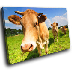 A044 Framed Canvas Print Colourful Modern Animal Wall Art - Brown Farm Cow Green Cool-Canvas Print-WhatsOnYourWall