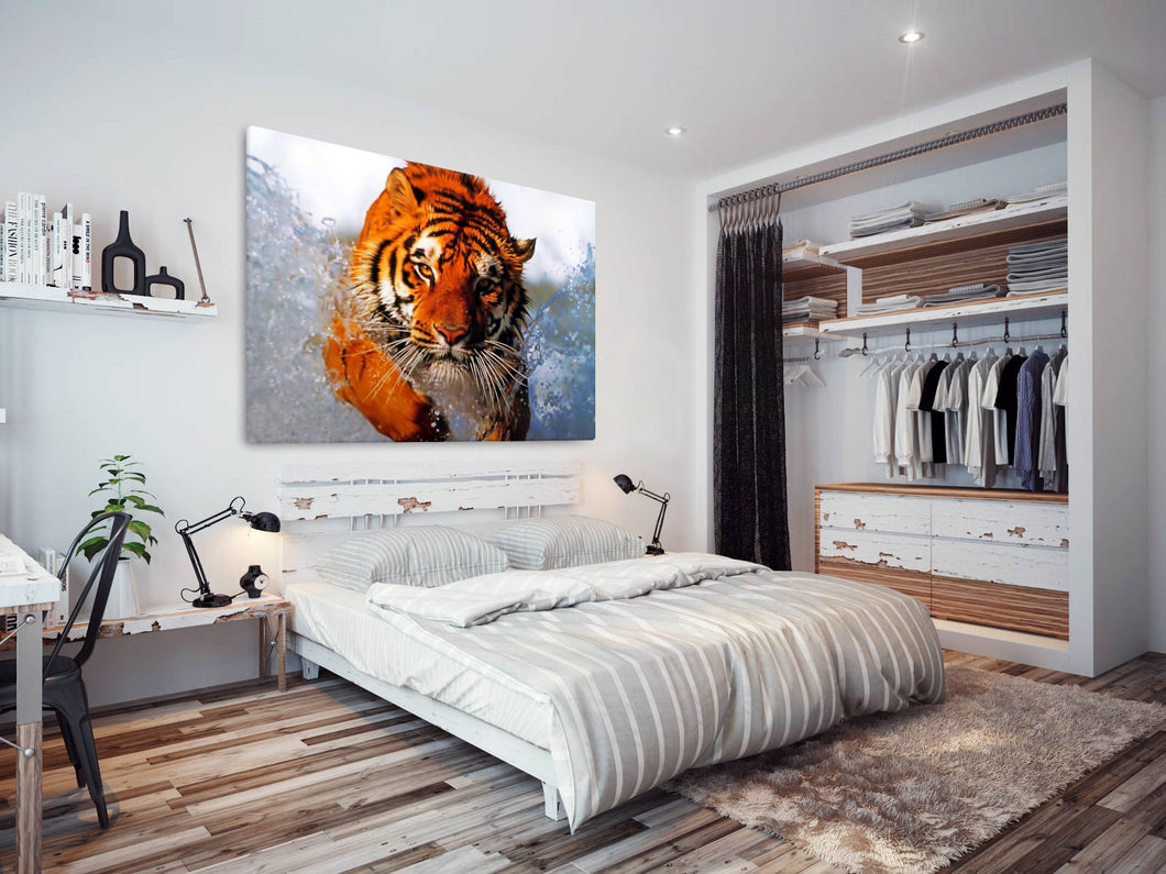 A045 Framed Canvas Print Colourful Modern Animal Wall Art - Orange Tiger Water Swim-Canvas Print-WhatsOnYourWall