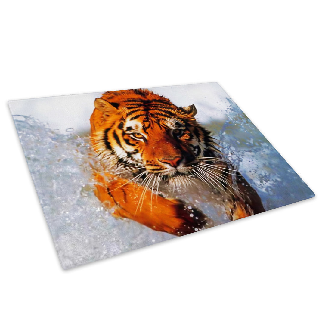 Orange Tiger Water Blue Glass Chopping Board Kitchen Worktop Saver Protector - A045-Animal Chopping Board-WhatsOnYourWall