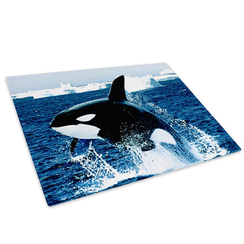 Blue Whale White Ice Sea Glass Chopping Board Kitchen Worktop Saver Protector - A046-Animal Chopping Board-WhatsOnYourWall