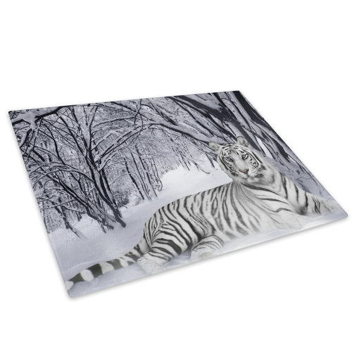Snow White Tiger Winter Glass Chopping Board Kitchen Worktop Saver Protector - A047-Animal Chopping Board-WhatsOnYourWall