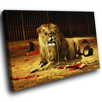 A051 Framed Canvas Print Colourful Modern Animal Wall Art - Brown Circus Lion Cool-Canvas Print-WhatsOnYourWall