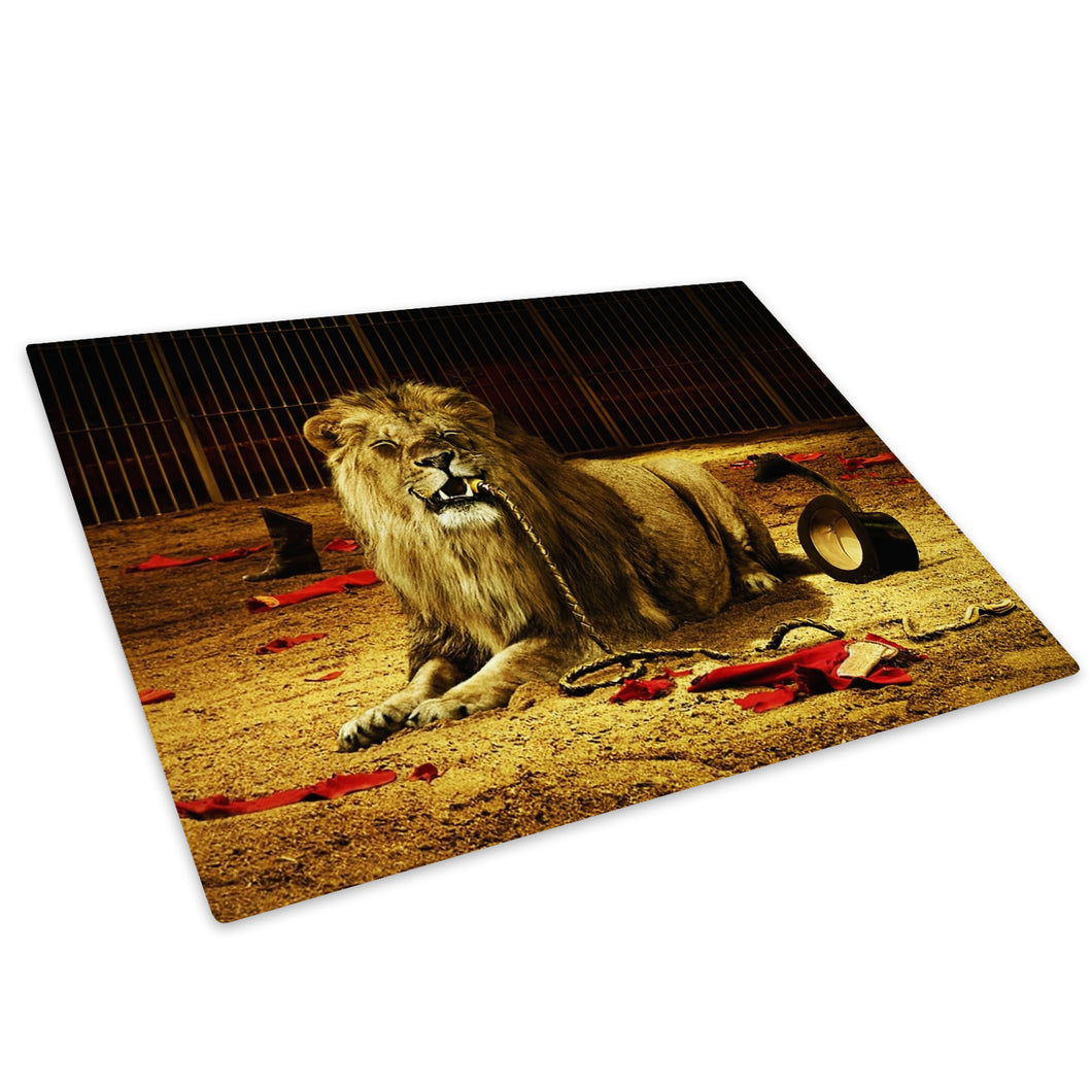 Brown Circus Lion Orange Glass Chopping Board Kitchen Worktop Saver Protector - A051