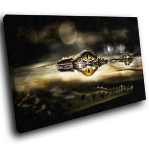 A053 Framed Canvas Print Colourful Modern Animal Wall Art - Crocodile Alligator Wild-Canvas Print-WhatsOnYourWall