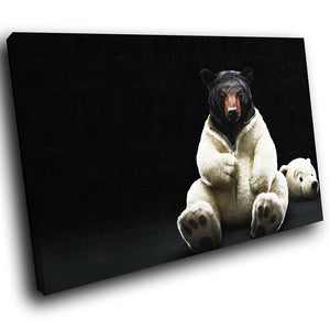 A054 Framed Canvas Print Colourful Modern Animal Wall Art - Black Bear White Polar-Canvas Print-WhatsOnYourWall