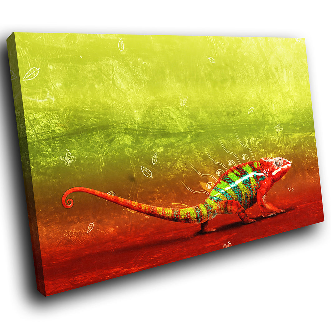 A055 Framed Canvas Print Colourful Modern Animal Wall Art - Colourful Lizard Green Gecko-Canvas Print-WhatsOnYourWall