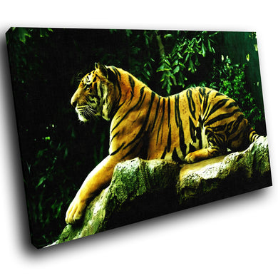 A057 Framed Canvas Print Colourful Modern Animal Wall Art - Orange Tiger Tropical Forest-Canvas Print-WhatsOnYourWall