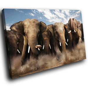 A059 Framed Canvas Print Colourful Modern Animal Wall Art -  Brown Elephant Africa Cool - WhatsOnYourWall