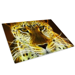 Yellow Leopard Abstract Glass Chopping Board Kitchen Worktop Saver Protector - A067-Animal Chopping Board-WhatsOnYourWall