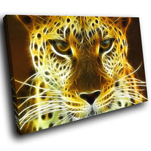 A067 Framed Canvas Print Colourful Modern Animal Wall Art - Yellow Leopard Cool Cat-Canvas Print-WhatsOnYourWall
