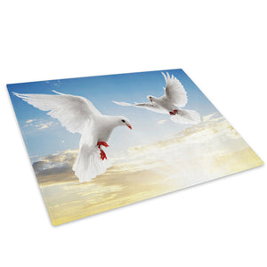White Dove Blue Sky Bird Glass Chopping Board Kitchen Worktop Saver Protector - A068-Animal Chopping Board-WhatsOnYourWall