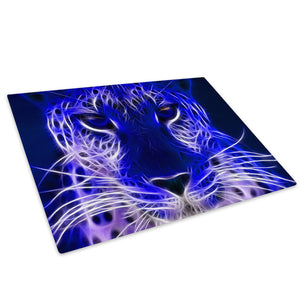 Blue Leopard Cool Abstract Glass Chopping Board Kitchen Worktop Saver Protector - A069