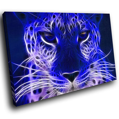 A069 Framed Canvas Print Colourful Modern Animal Wall Art - Blue Leopard Cool Animal-Canvas Print-WhatsOnYourWall