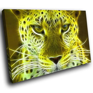 A070 Framed Canvas Print Colourful Modern Animal Wall Art - Yellow Leopard Cool Cat-Canvas Print-WhatsOnYourWall