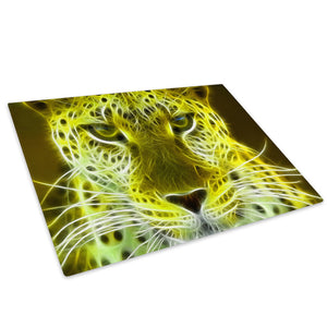 Yellow Leopard  Abstract Glass Chopping Board Kitchen Worktop Saver Protector - A070