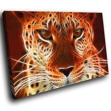 A071 Framed Canvas Print Colourful Modern Animal Wall Art - Orange Leopard Cool Cat-Canvas Print-WhatsOnYourWall