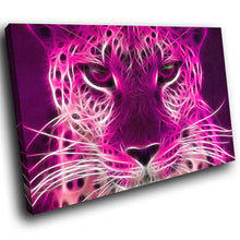 A072 Framed Canvas Print Colourful Modern Animal Wall Art -  Pink Leopard Cool Animal - WhatsOnYourWall