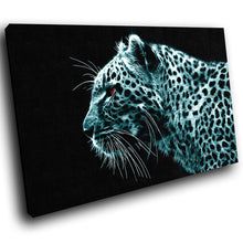A074 Framed Canvas Print Colourful Modern Animal Wall Art - Turquoise Leopard Cool-Canvas Print-WhatsOnYourWall