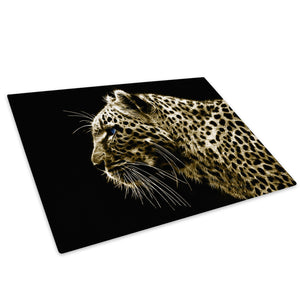 Mustard Cheetah Abstract Glass Chopping Board Kitchen Worktop Saver Protector - A075-Animal Chopping Board-WhatsOnYourWall