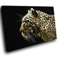 A075 Framed Canvas Print Colourful Modern Animal Wall Art - Mustard Cheetah Cool Cat-Canvas Print-WhatsOnYourWall