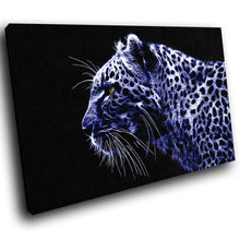 A076 Framed Canvas Print Colourful Modern Animal Wall Art -  Blue Cheetah Animal Cat - WhatsOnYourWall