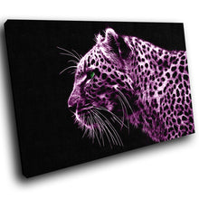 A077 Framed Canvas Print Colourful Modern Animal Wall Art -  Pink Cheetah Animal Cool - WhatsOnYourWall