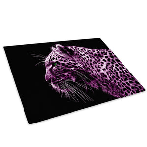 Pink Cheetah Abstract Cool Glass Chopping Board Kitchen Worktop Saver Protector - A077-Animal Chopping Board-WhatsOnYourWall