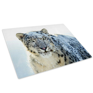 Snow White Leopard Winter Glass Chopping Board Kitchen Worktop Saver Protector - A079-Animal Chopping Board-WhatsOnYourWall