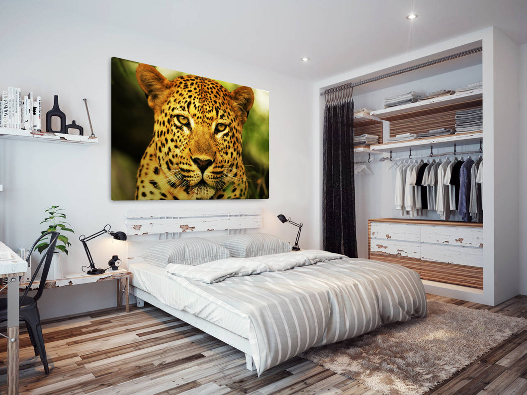 A080 Framed Canvas Print Colourful Modern Animal Wall Art - Yellow Leopard Big Cat-Canvas Print-WhatsOnYourWall