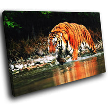 A082 Framed Canvas Print Colourful Modern Animal Wall Art - Orange Tiger Green Lake-Canvas Print-WhatsOnYourWall