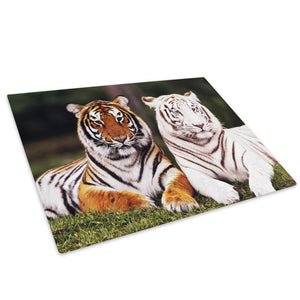 White Orange Tiger Cool Glass Chopping Board Kitchen Worktop Saver Protector - A083-Animal Chopping Board-WhatsOnYourWall