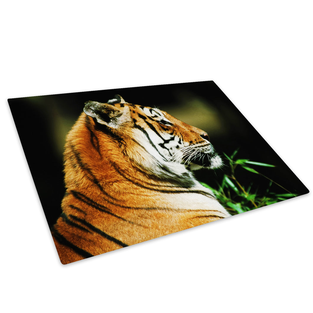 Orange Tiger Stripes Cool Glass Chopping Board Kitchen Worktop Saver Protector - A085-Animal Chopping Board-WhatsOnYourWall