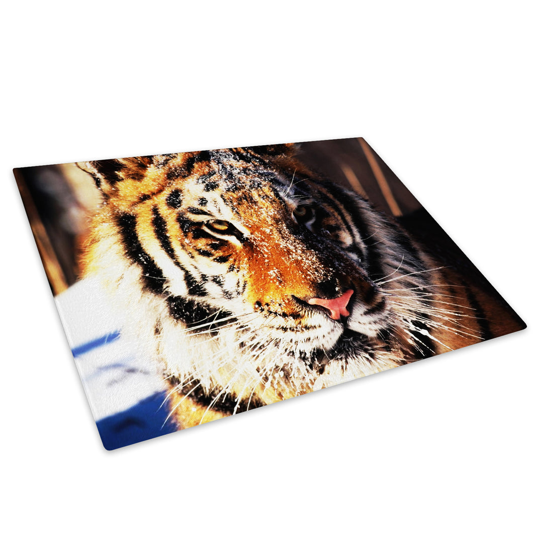 Orange Tiger Cat Stripes Glass Chopping Board Kitchen Worktop Saver Protector - A087