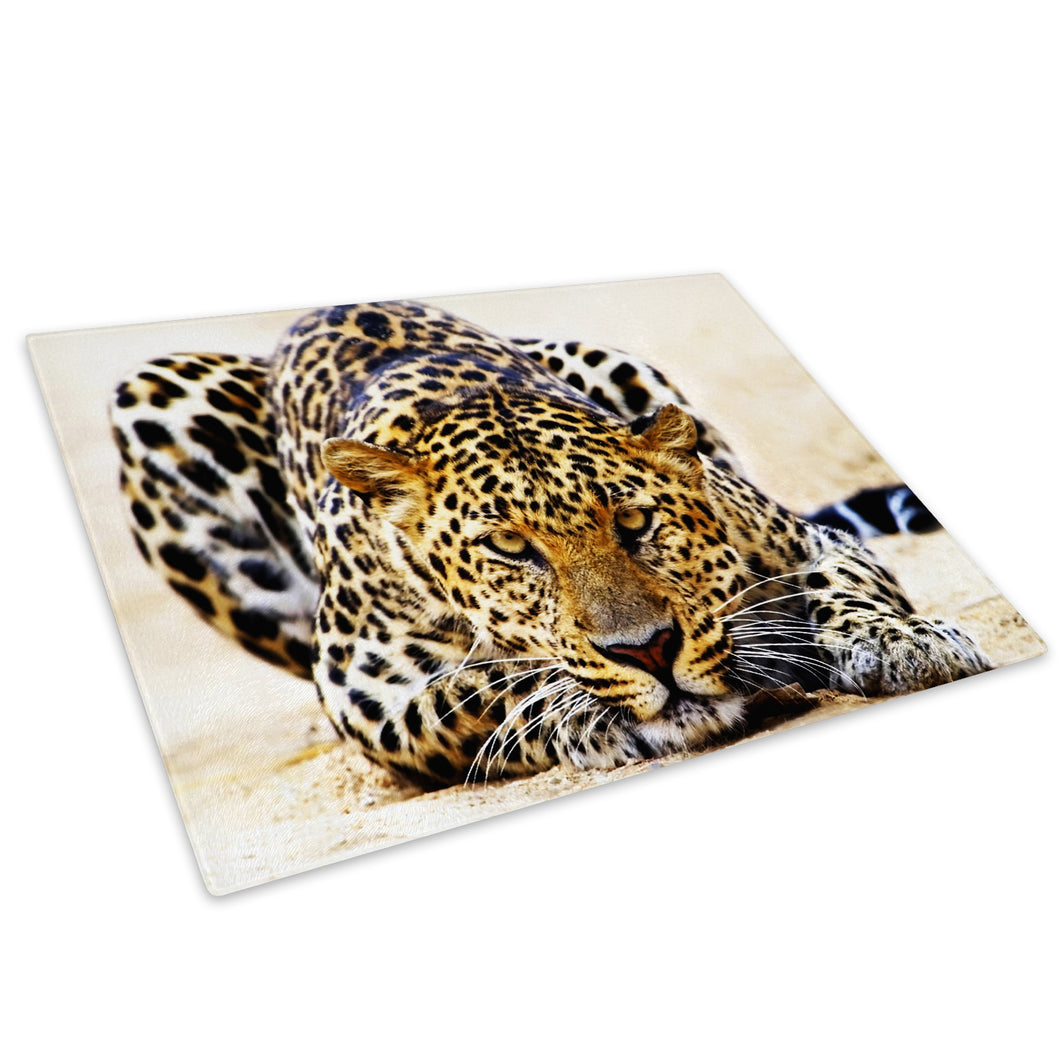 Orange Black Leopard Cool Glass Chopping Board Kitchen Worktop Saver Protector - A089