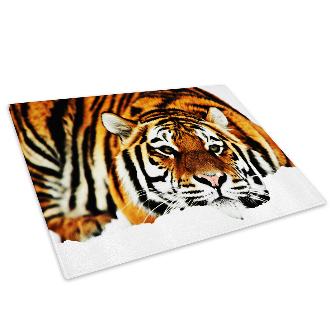 Orange Tiger Winter Snow Glass Chopping Board Kitchen Worktop Saver Protector - A091