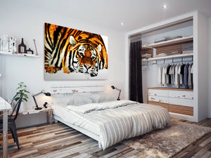 A091 Framed Canvas Print Colourful Modern Animal Wall Art - Orange Tiger Winter Snow-Canvas Print-WhatsOnYourWall