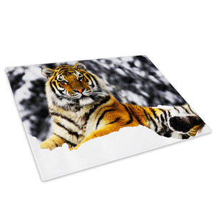 Orange Tiger Winter Snow Glass Chopping Board Kitchen Worktop Saver Protector - A092