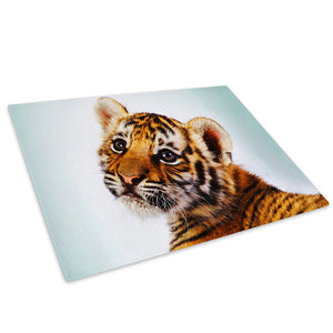 Orange Tiger Cub Cat White Glass Chopping Board Kitchen Worktop Saver Protector - A096-Animal Chopping Board-WhatsOnYourWall