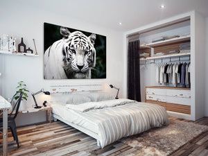 A098 Framed Canvas Print Colourful Modern Animal Wall Art - White Tiger Cool Big Cat-Canvas Print-WhatsOnYourWall