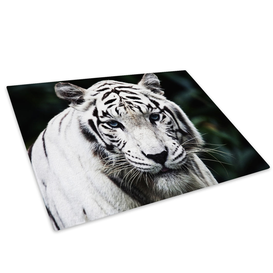 White Tiger Cool White Glass Chopping Board Kitchen Worktop Saver Protector - A098-Animal Chopping Board-WhatsOnYourWall
