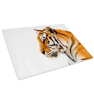 Orange Tiger White Cool Glass Chopping Board Kitchen Worktop Saver Protector - A101