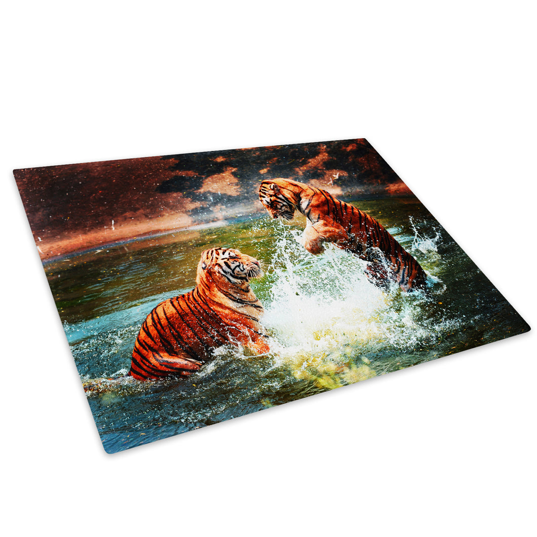 Orange Tiger Water Yellow Glass Chopping Board Kitchen Worktop Saver Protector - A102-Animal Chopping Board-WhatsOnYourWall