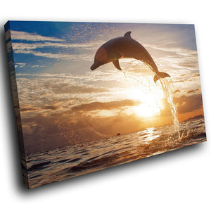 A107 Framed Canvas Print Colourful Modern Animal Wall Art -  Ocean Sunset Dolphin Cool - WhatsOnYourWall