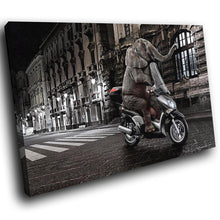 A109 Framed Canvas Print Colourful Modern Animal Wall Art -  Animal Elephant Scooter - WhatsOnYourWall